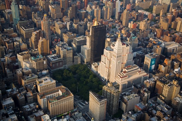 An aerial of Madison Square Park and surrounding area.  Manhattan, New York City.
