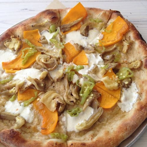 Calabaza with oyster mushrooms, garlic, pepperoncini and mozzarella from Harry's Pizzeria by Michael Schwartz