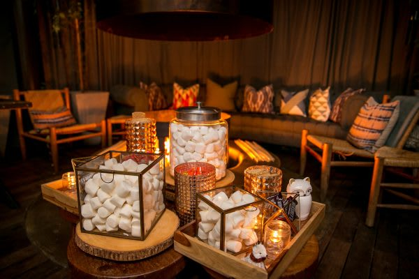 Winter S'mores station in creative containers for a holiday party