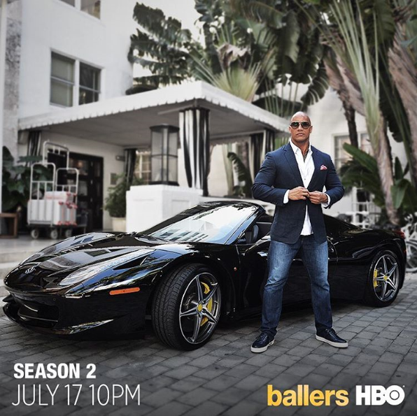 The Rock at The Raleigh for HBO Ballers shoot