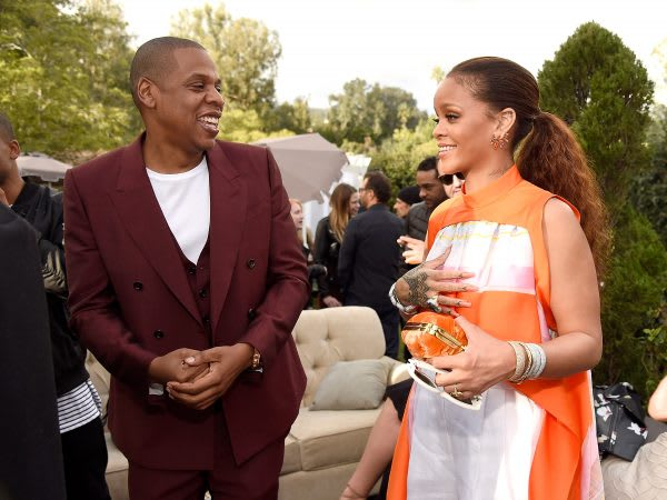 LOS ANGELES, CA - FEBRUARY 11: Rihanna and Jay Z attend 2017 Roc Nation Pre-GRAMMY brunch at Owlwood Estate on February 11, 2017 in Los Angeles, California. (Photo by Kevin Mazur/Getty Images for Roc Nation)