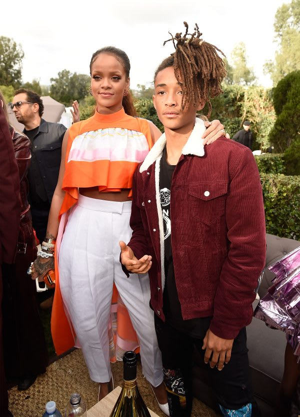 LOS ANGELES, CA - FEBRUARY 11: Rihanna and Jaden Smith attend 2017 Roc Nation Pre-GRAMMY brunch at Owlwood Estate on February 11, 2017 in Los Angeles, California. (Photo by Kevin Mazur/Getty Images for Roc Nation)