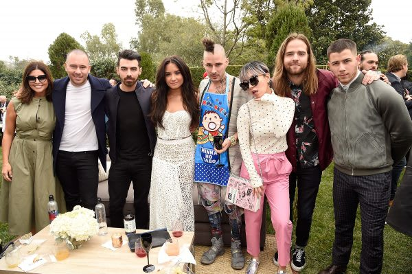 LOS ANGELES, CA - FEBRUARY 11: Phil McIntyre, Joe Jonas, Demi Lovato, JinJoo Lee, Cole Whittle, Jack Lawless and Nick Jonas attend 2017 Roc Nation Pre-GRAMMY brunch at Owlwood Estate on February 11, 2017 in Los Angeles, California. (Photo by Kevin Mazur/Getty Images for Roc Nation)