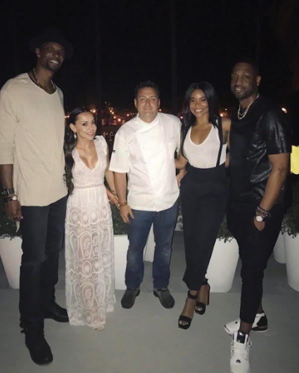 Chris Bosh, Adrienne Bosh, Chef , Gabrielle Union, Dwayne Wade